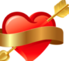 RED HEART BOW ARROW GOLD RIBBON