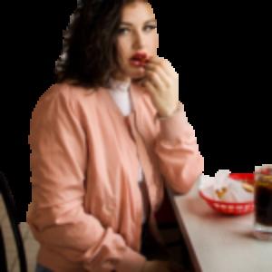 sad girl eating
